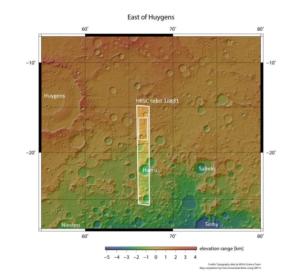 نقشه توپوگرافی سطح مریخ