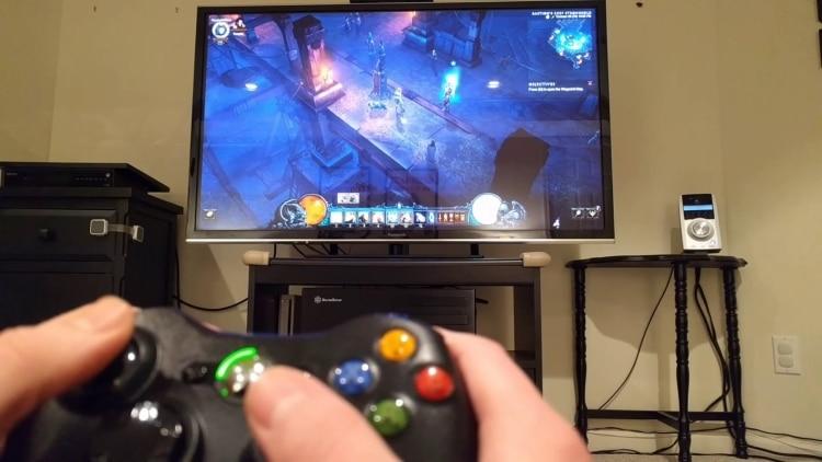 بازی با کنسول روی صفحه نمایش تلویزیون