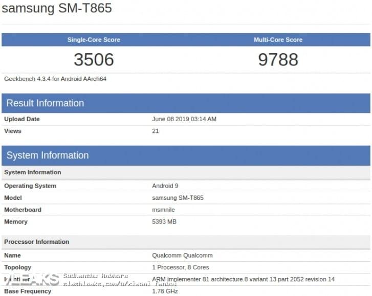 روکیدا - تبلت پرچمدار گلکسی Tab S5 سامسونگ در بنچمارک GeekBench - اندروید, سامسونگ