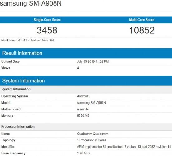 حضور گوشی گلکسی A90 5G در بنچمارک Geekbench مدل چیپست آن را لو داد