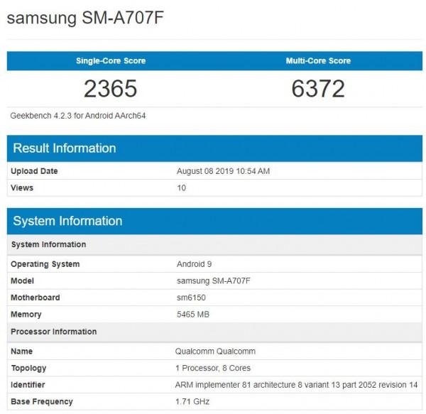 Galaxy A70s سامسونگ در بنچمارک Geekbench رویت شد