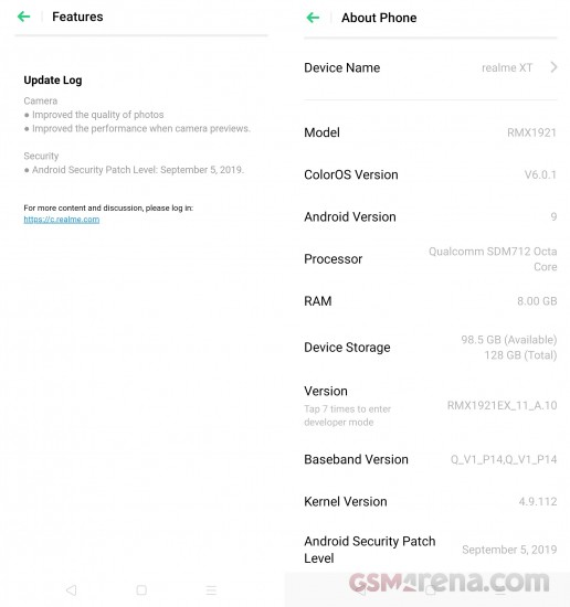 اولین بهروزرسانی نرمافزاری گوشی Realme XT بسته امنیتی ماه سپتامبر و تغییرات دوربین را در خود دارد
