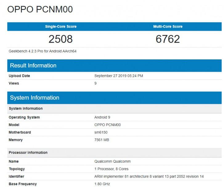 گوشی K5 اوپو با چیپست اسنپدراگون 730 در بنچمارک Geekbench ظاهر شد
