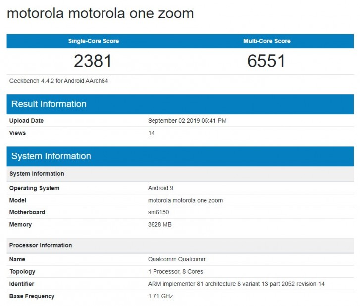 گوشی Motorola One Zoom در بنچمارک Geekbench حضور پیدا کرد