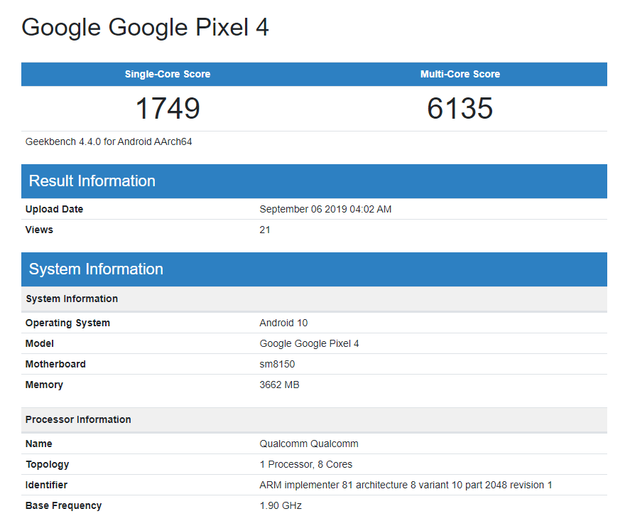 گوشی Pixel 4 و Pixel 4 XL با فقط 4 گیگابایت در بنچمارک Geekbench ظاهر شدند