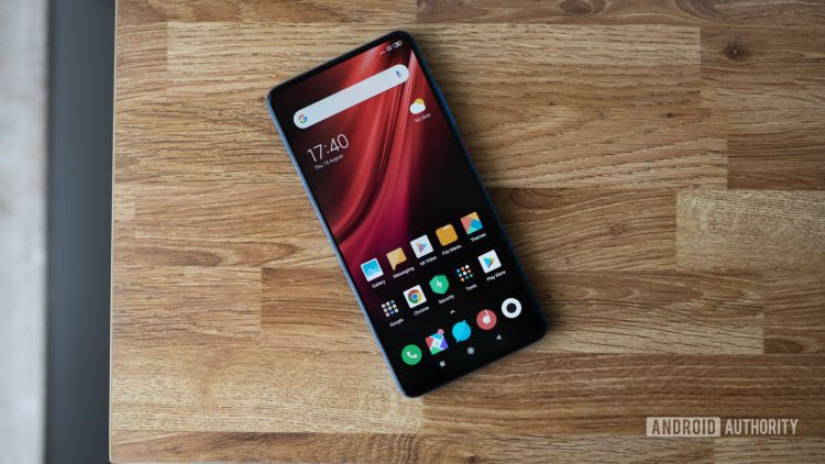 Redmi K20 showing front display and homescreen