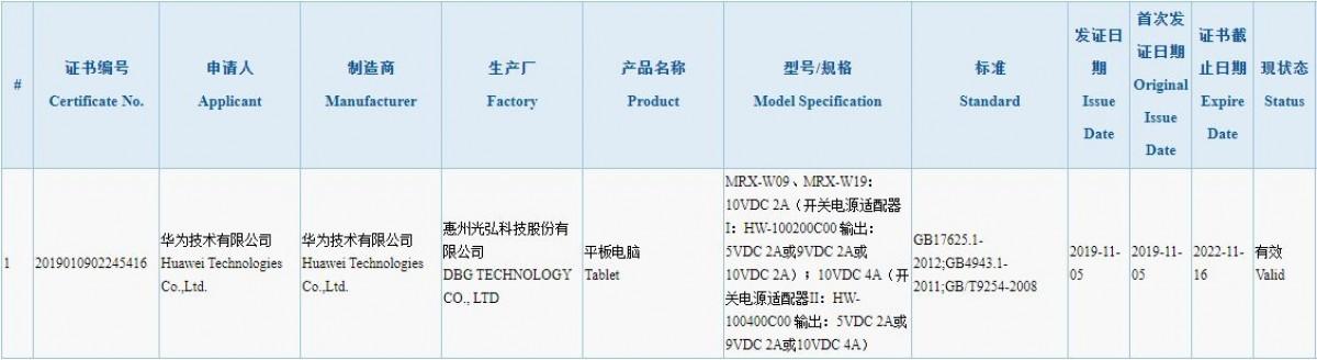 تبلت MatePad Pro مجوز 3C را دریافت کرد؛ تایید استفاده از فناوری شارژ 40 وات