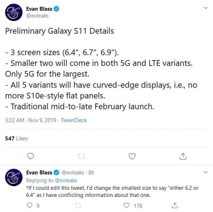 گلکسی اس 11 سامسونگ در 5 مدل و سه اندازه عرضه خواهد شد