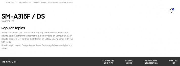 حضور گوشی گلکسی A31 در سایت سامسونگ خبر از به زودی معرفی آن میدهد