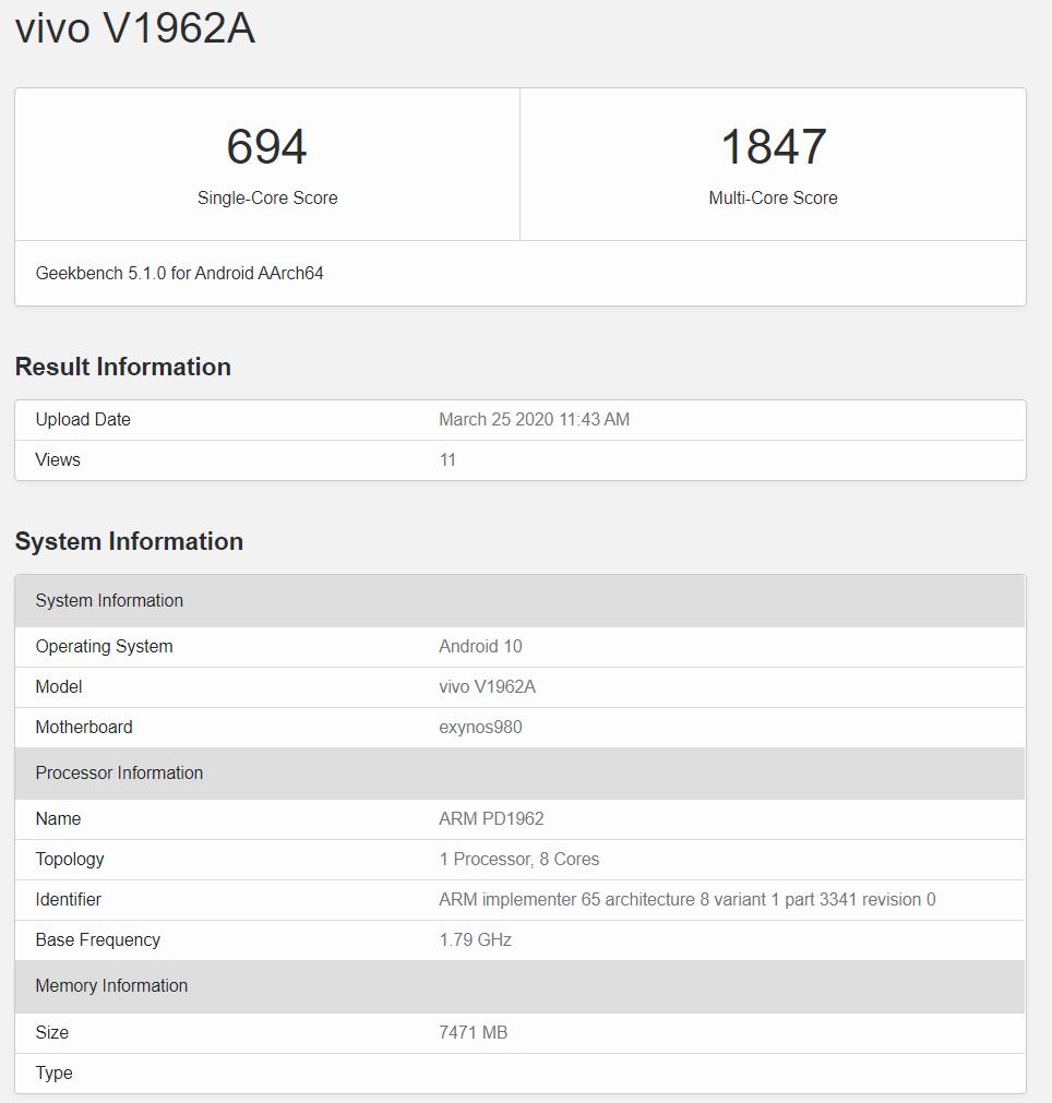 حضور گوشی S6 5G ویوو در بنچمارک Geekbench یک دستگاه قدرتمند را نشان میدهد
