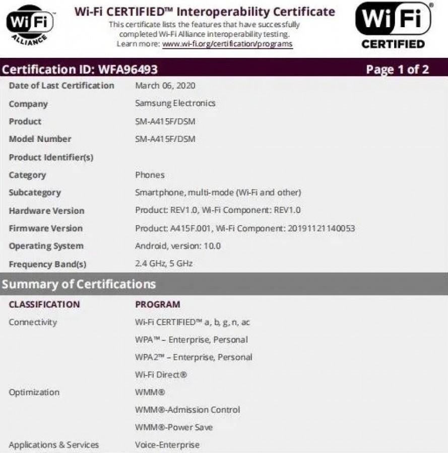 گوشی گلکسی A41 گواهینامه وایفای و بلوتوث را به دست آورد