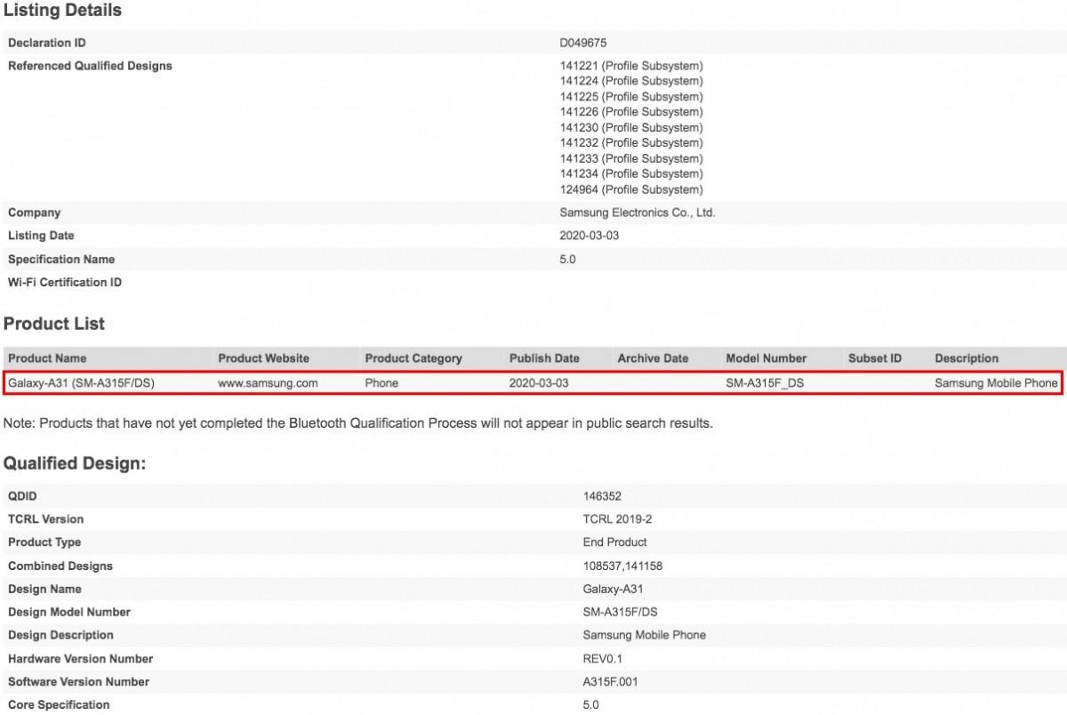گوشی گلکسی A31 سامسونگ مجوز بلوتوث را به دست آورد