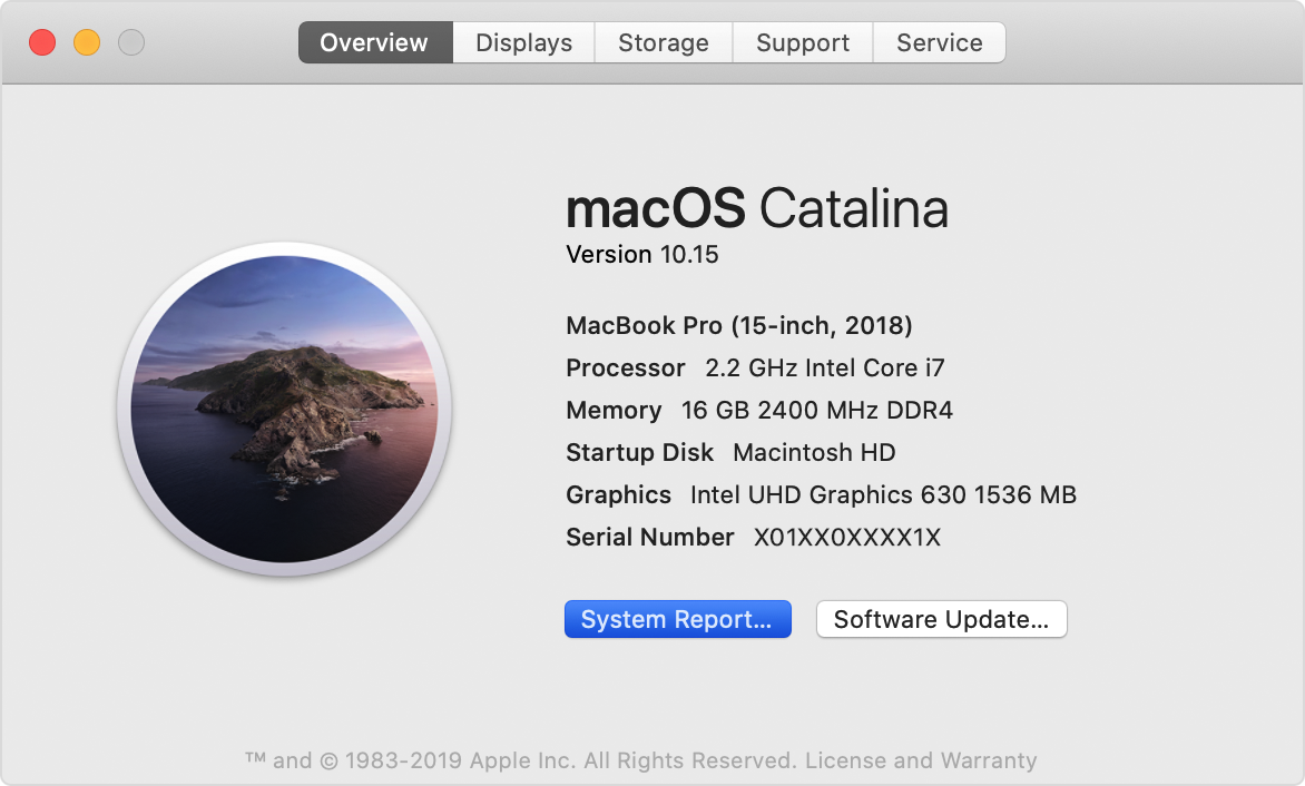 macos catalina mac overview system report