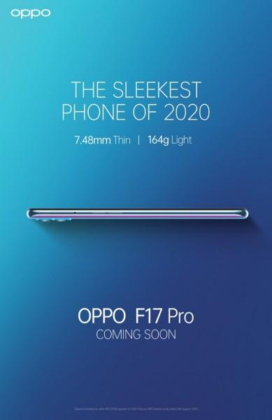 گوشی Oppo F17 Pro به عنوان باریکترین گوشی 2020 به بازار خواهد آمد