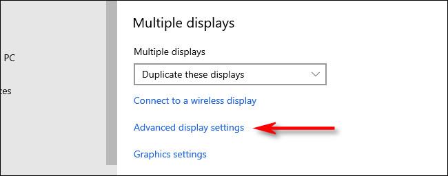 click advanced display settings