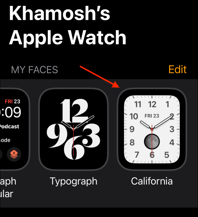 New Watch Face in My Faces Tab in Watch App 1