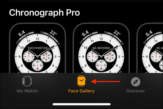 Select Face Gallery Tab from Watch App 1