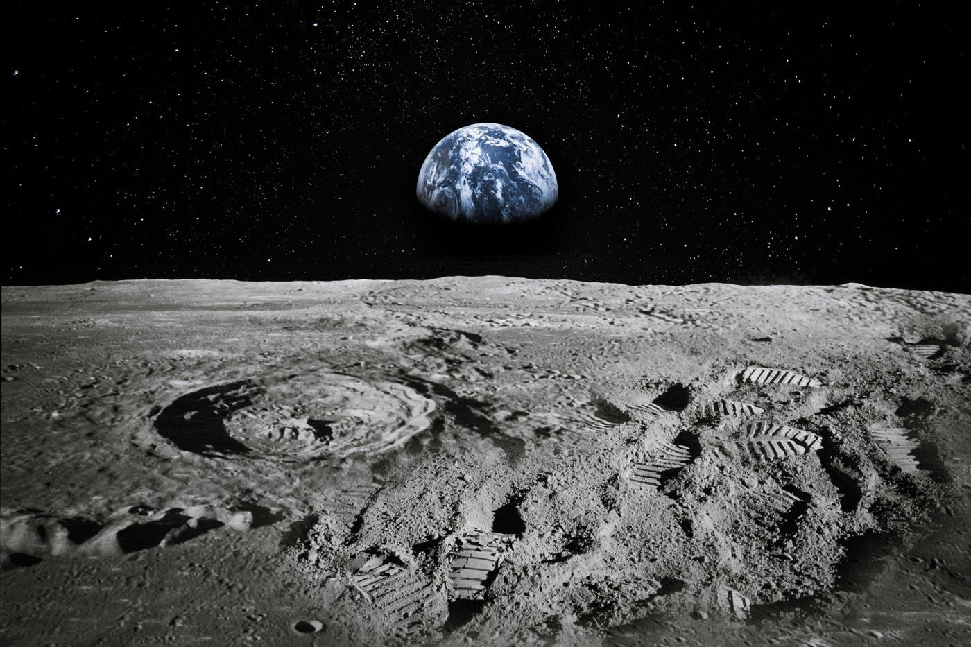 earth view from moon perspective footprints
