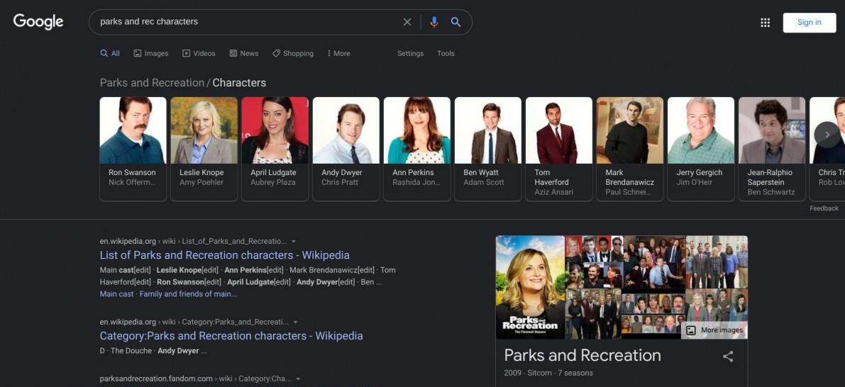 صفحه جستجوی گوگل در حالت دارک مود