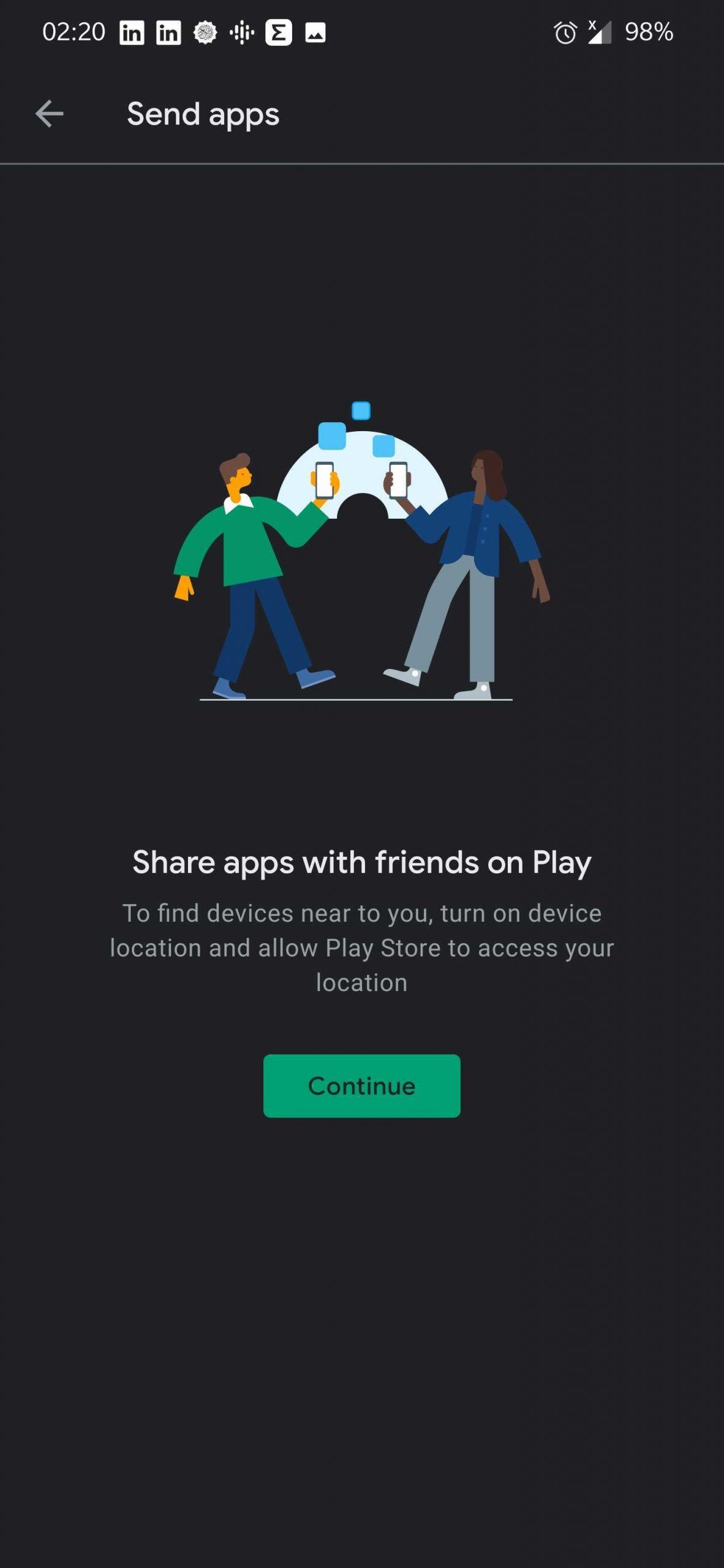 Nearby Share، اندروید، اشتراک گذاری اپلیکیشن