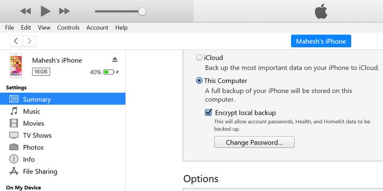 رمزگذاری بک آپ با آیتونز