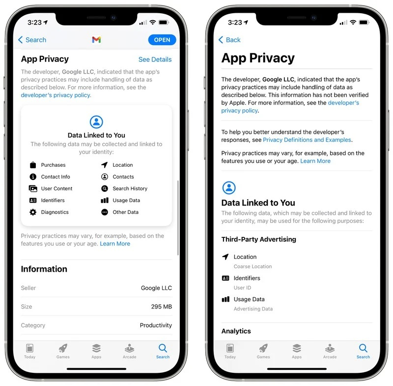 اطلاعات حریم خصوصی برنامه به Gmail اضافه شد