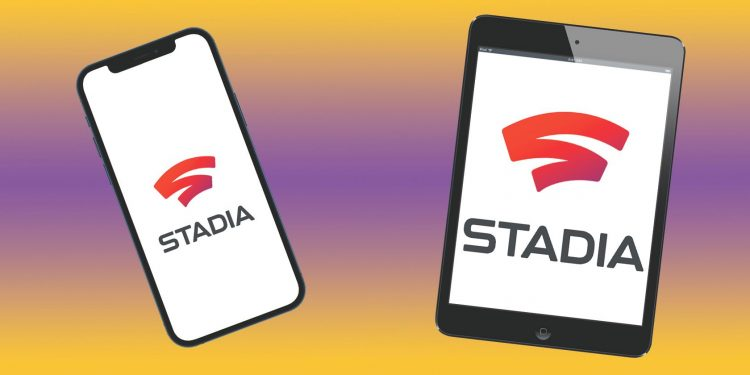 ipad and iphone with stadia on screens