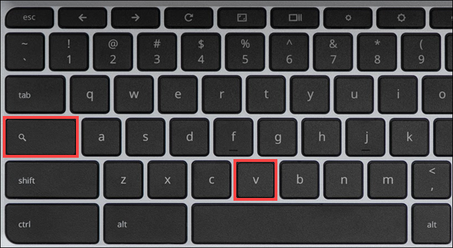 ترکیب کلیدهای search و حرف v