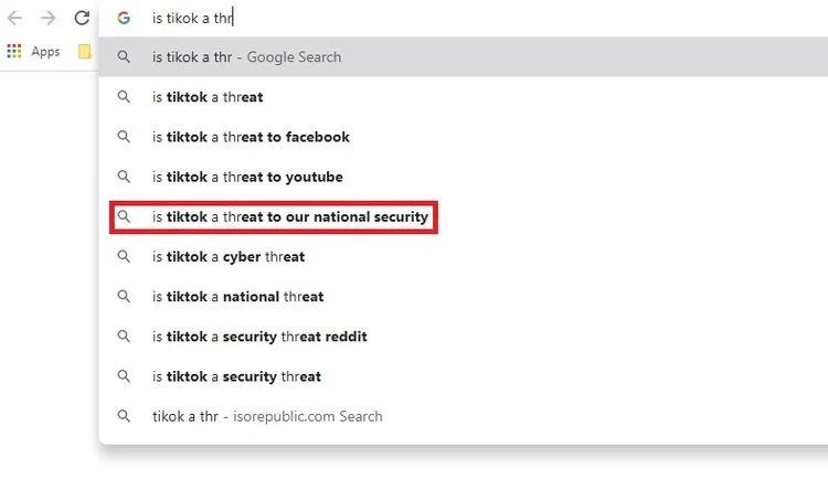 جستجوی خطرات تیک تاک در گوگل