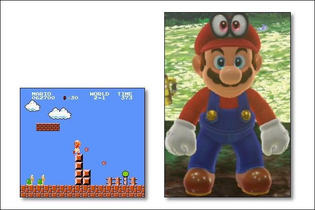 ماریو در بازی سوپر ماریو ادیسه تقریباً به اندازه کل رزولوشن سیستم NES پیکسل داشت.