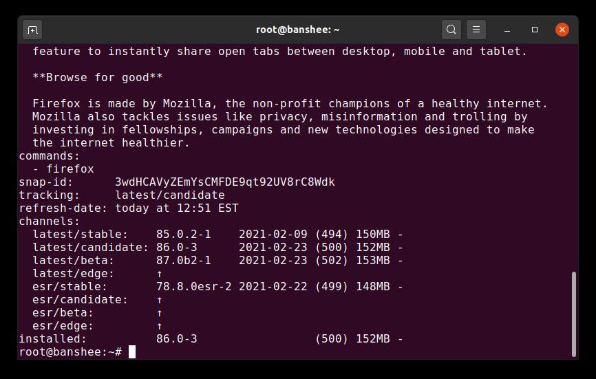 نوسازی کانال Snap فایرفاکس در لینوکس