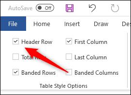 گزینه Header Row از تب Table Design