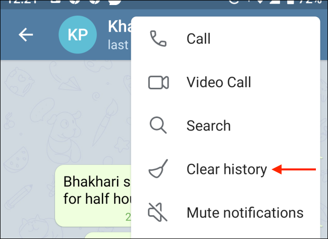 حذف سابقه چت تلگرام