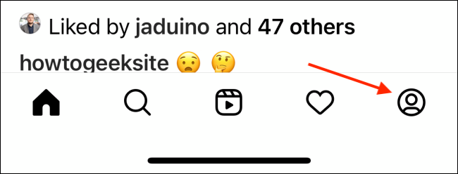 Tap Profile from Instagram