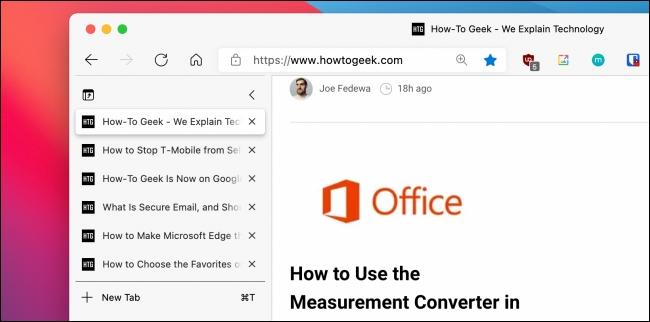 Microsoft Edge، مایکروسافت اج، تب های عمودی، دکمه تب های عمودی