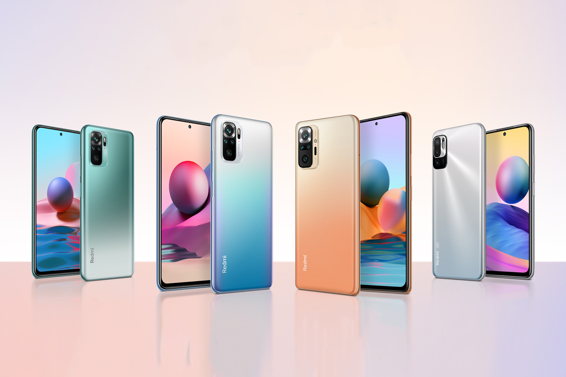 xiaomi redmi note 10 series smartphone all models front back render