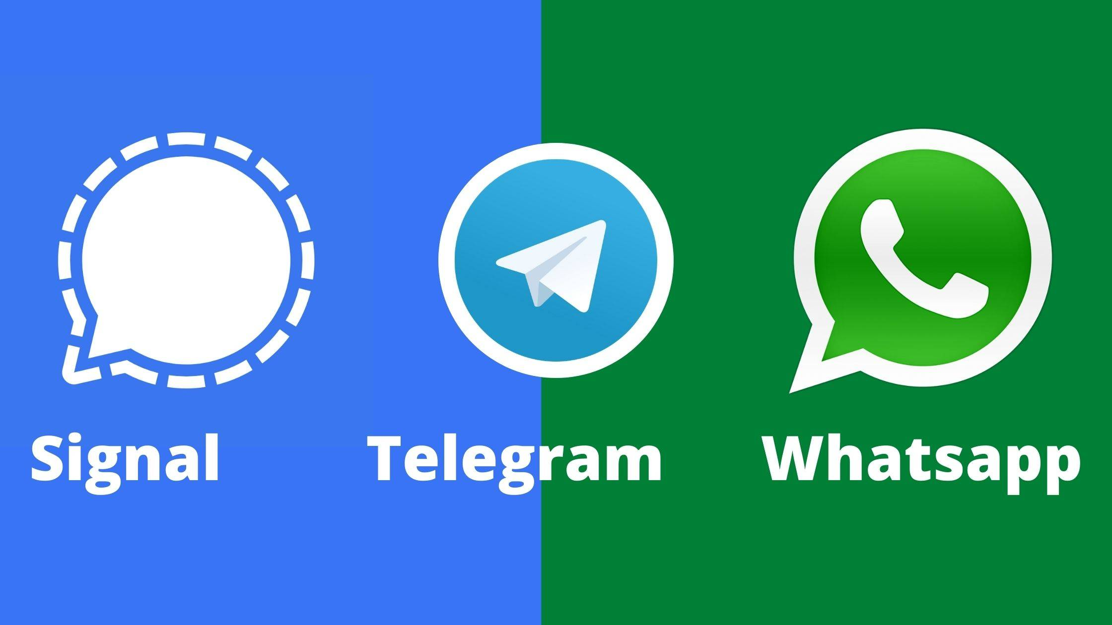 واتساپ، سیگنال و تلگرام