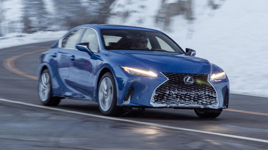2021 Lexus IS 300 AWD front three quarter in motion 1