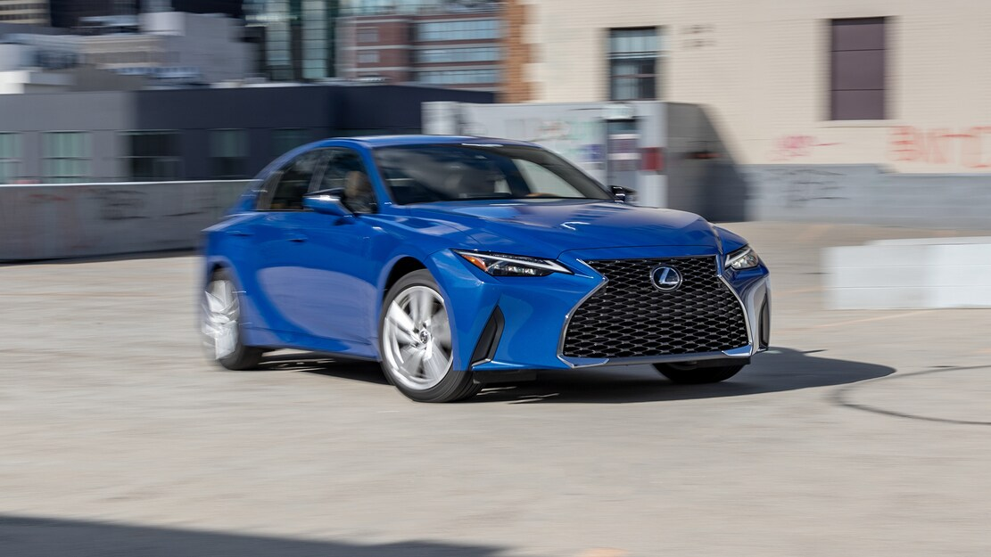 2021 Lexus IS 300 AWD front three quarter in motion 3