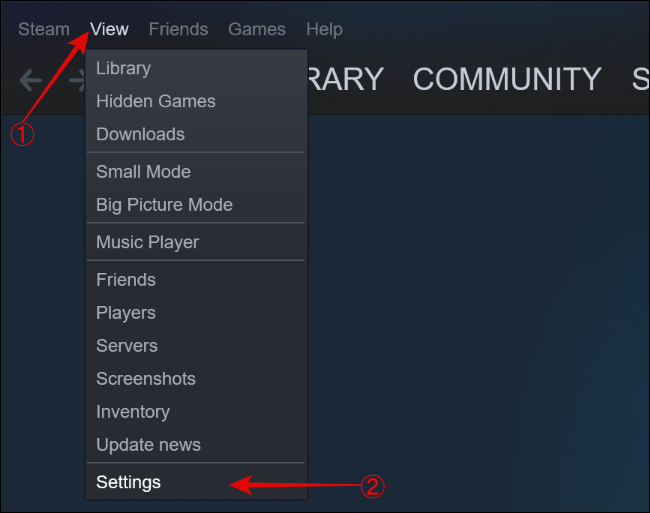 Open Steam View Settings