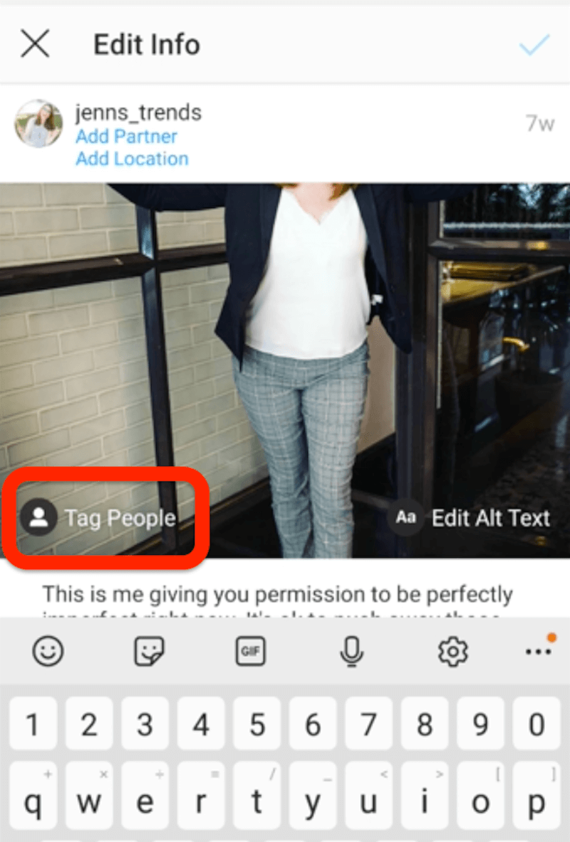 add tag to existing instagram post step 2