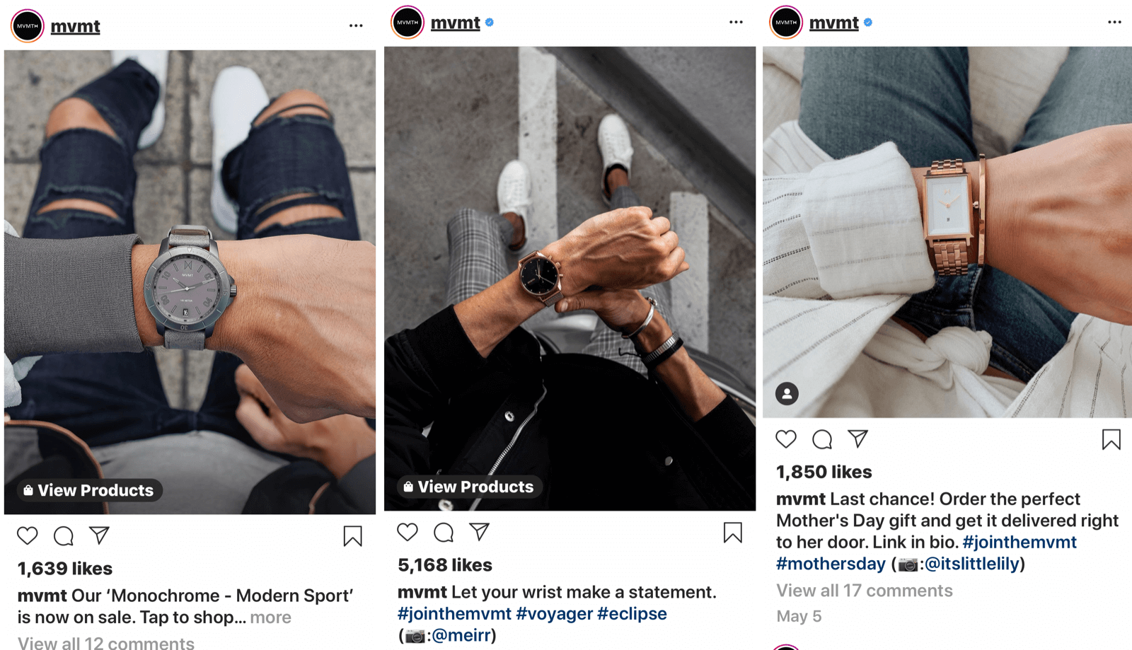 instagram feed posts with unique camera angle