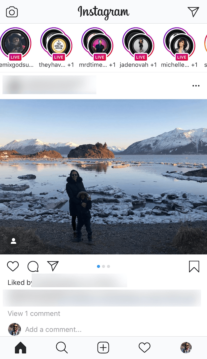 instagram live videos on home feed