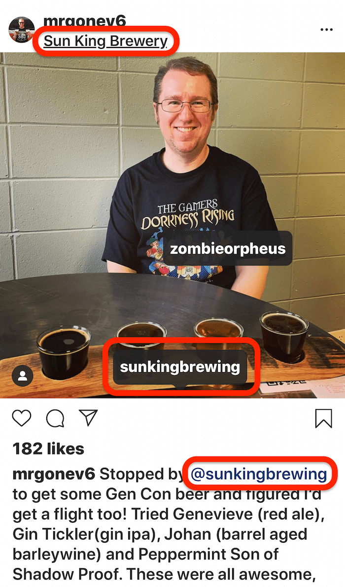 instagram post with multiple tags