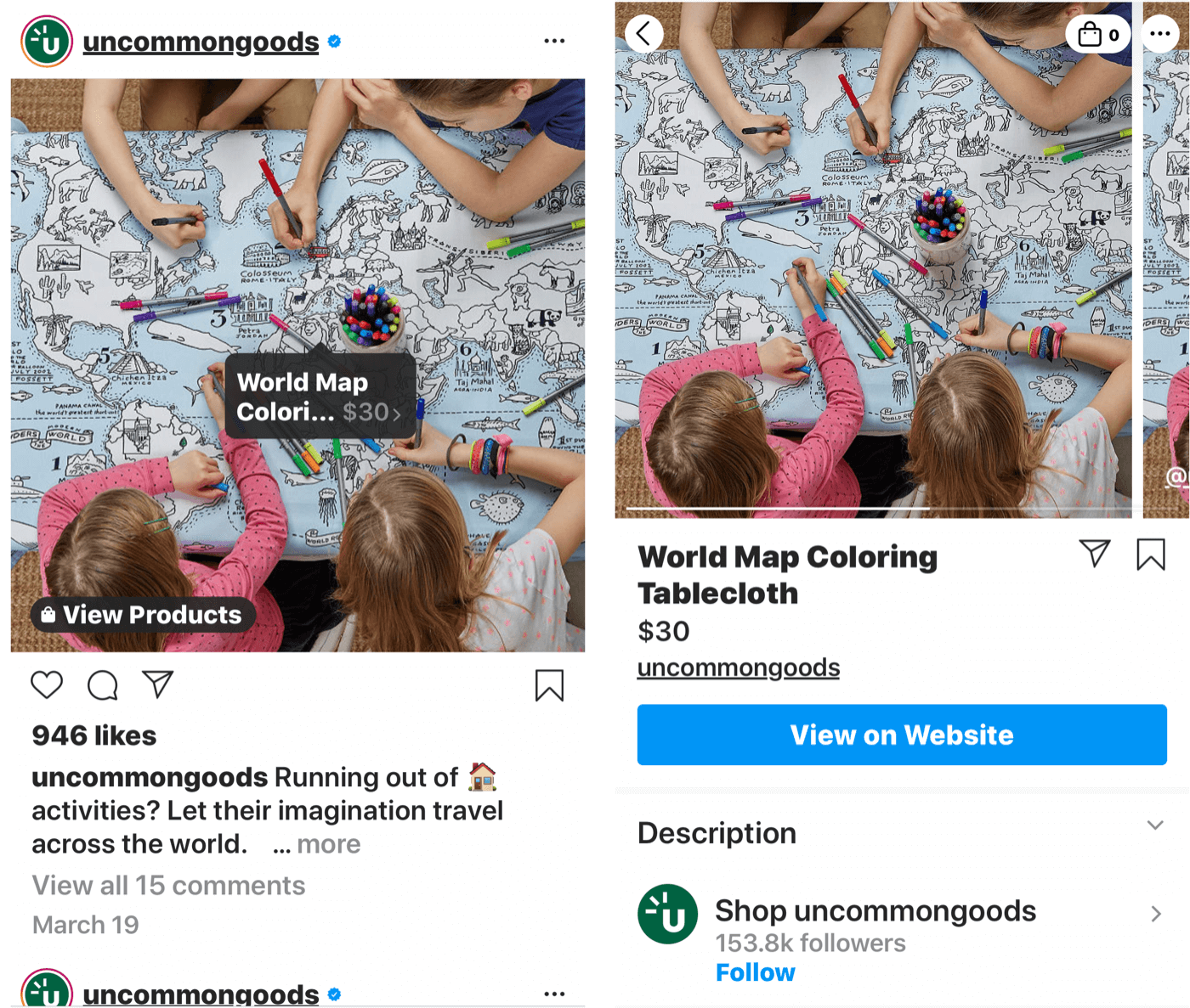 instagram post with shoppable tag