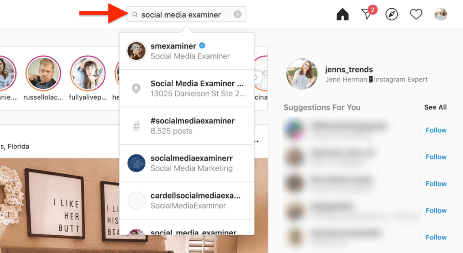 search for instagram account desktop view