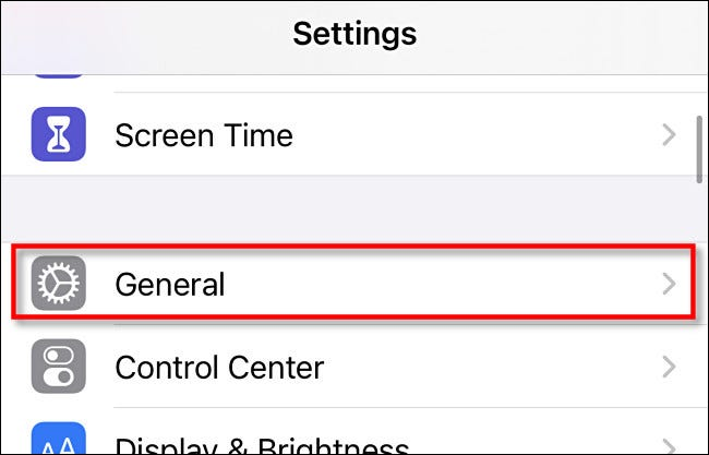 settings tap General
