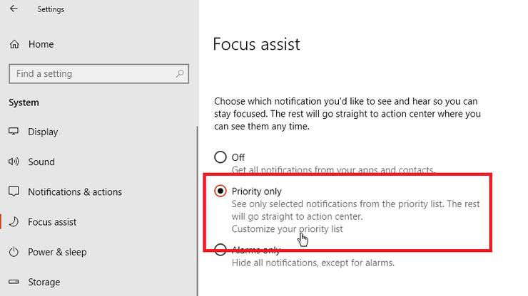 غیرفعال کردن اعلانها با استفاده از Focus Assist