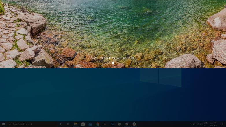 قابلیت کشیدن صفحه برای خاموش کردن کامپیوتر