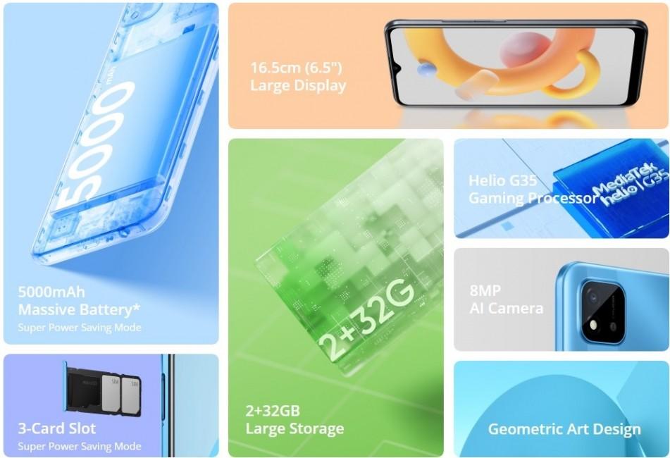 گوشی ریلمی C20A با نمایشگر 6.5 اینچی معرفی شد